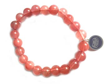 Red quartz bead Daruma bracelet