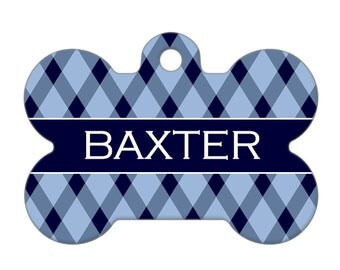 Personalized Pet ID Tag - Baxter Custom Name Striped Bone Pet ID Tag, Dog Tag