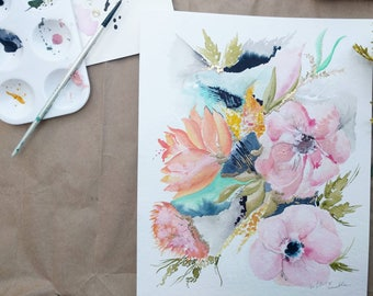 8x10 Custom Hand Painted Floral Mixed Media Art