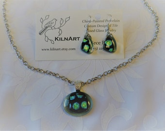 Fused Glass Necklace and Earrings
