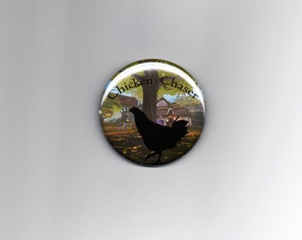 "Chicken Chaser 2.25"" Pinback Button Fable Inspired Video Game RPG"
