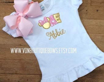 Gold light pink mouse bow Personalized Boutique Number Birthday Boutique First 1st one flutter Girls Applique Short Long Sleeve Shirt Tank