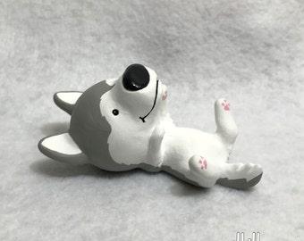Hand Sculpted Grey Siberian Husky Derp Figurine