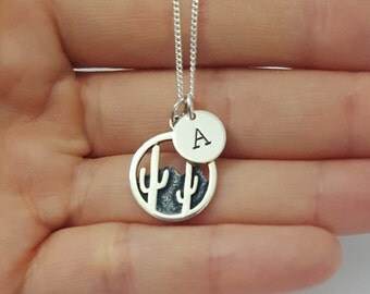 Sterling Silver Cacti Necklace, Personalized Necklace, Arizona, Initial Necklace, Daughter Gift, Mother's Gift, Birthday Gift