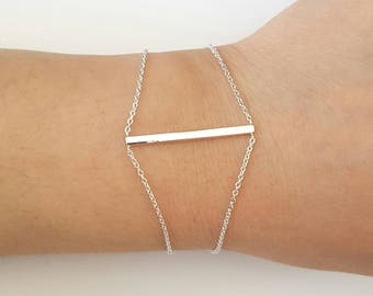 Sterling Silver Bar Bracelet, Minimalist Jewelry, Mother's Gift, Birthday Gift, Mother's Day Gift