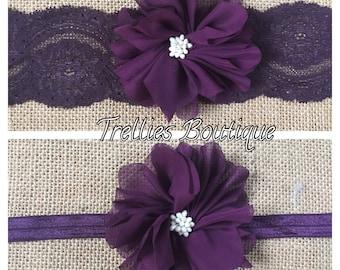 Plum Lace Headband, Eggplant Lace Headband, Chiffon Flower Headband- Eggplant Elastic Headband- Flower Girl Headband, Wedding