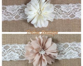 Ivory Chiffon Lace Headband- Beige Lace Headband- Champagne Lace Headband- Vintage Headband- Flower Girl Headband