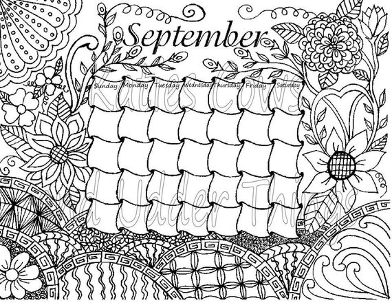 september doodled calendar coloring page - September Coloring Pages