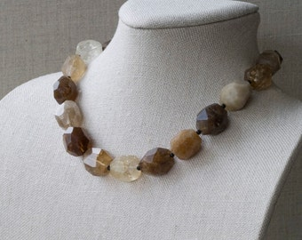 Smokey Quartz Necklace Nugget Faceted Earth Tones Chunky