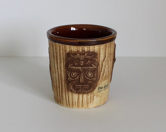 Vintage Otagiri Mercantile Company OMC Three Faced Tiki Bucket Mug Brown Kono Hawaii Santa Ana California
