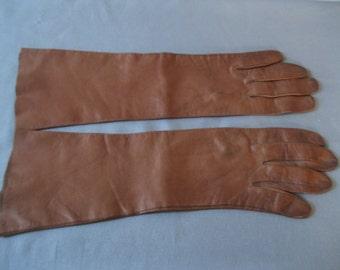 Antique Edwardian Gloves - 1900s Brown Leather Bracelet Length Gloves