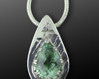 Diamond and Lemon Quartz Sterling Silver Pendant