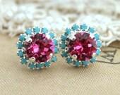 Pink Turquoise Stud Earrings,Christmas Gift for her,Silver Pink Earrings,Bridesmaids Silver Pink Stud Earrings,Free shipping,gift for her