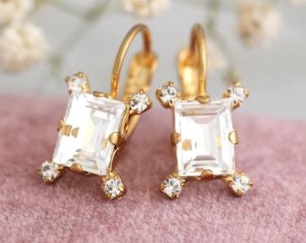 Crystal Drop Earrings, Bridal Drop Earrings, Swarovski Earrings, Christmas Gift, Bridesmaids Earrings, Gift For Her, Emerlad Cut Earrings