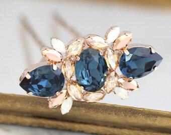 Bridal Hair Fork, Blue Navy Bridal Swarovski Hair Fork, Blue Navy Hair Fork, Wedding Hair Jewelry, Navy Blue Bridal Hair Accessories