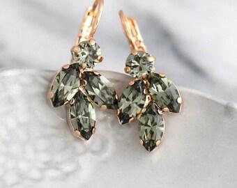 Gray Earrings, Dark Gray Earrings, Bridal Gray Earrings , Swarovski Gray Earrings, Black Diamond Dangle Earrings, Bridesmaids Earrings.