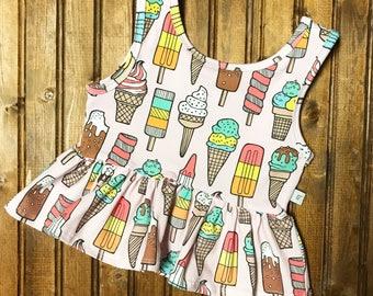 Baby toddler girl ice cream crop top peplum ruffle