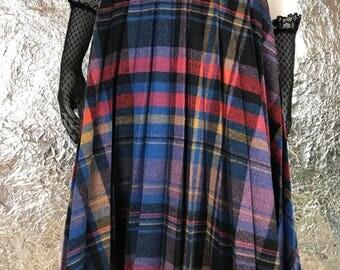 Vintage Blue & Red Plaid 70's Midi Secretary Skirt  S