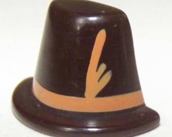 Vintage Bakelite Button Super Cute Swiss Alpine Hat