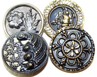 Antique Buttons ~ Metal Buttons Lovely Tinted Floral Designs