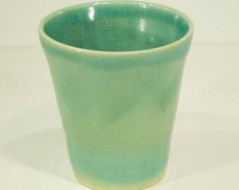 Ceramic Vase, Aquamarine Crackle, Handmade, Green glaze, Pottery Wheel, Home Decor, Vessel, Unique Gift, Signed, MJS, 52