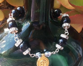 upcycled Authentic GUCCI Toggle sterling silver wire Black Moonstone Beads Rhinestone accent