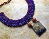 Bead Embroidery Necklace - Ceramic Star - Gypsy Boho Festival Jewelry - Wearable Art