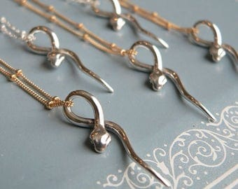 Who's Afraid of a little SNAKE?- Pretty Sterling Modern Snake Necklace - Sterling or Gold Filled Chain ModernJ ewelry
