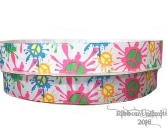 5 yds 7/8 Inch NEON Splatter Paint PEACE Print grosgrain ribbon LOW Shipping Cost