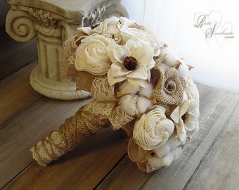 Ships in 4 weeks ~~~~ Rustic Cotton Boll Wedding Bouquet, Sola Flowers, Burlap, Cotton Bolls, Jute & Lace. Available in sm., med. or large.