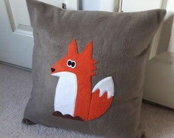 Fox cushion, fleece fox applique pillow, kids animal cushion