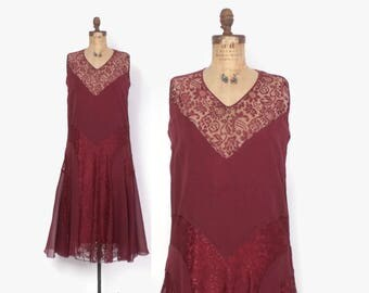 Vintage 20s Lace & Silk DRESS / 1920s Burgundy Red Wine Crepe Party Dress M