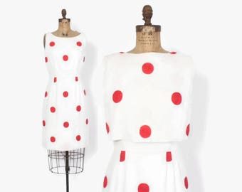 Vintage 50s Polka Dot DRESS Set / 1950s White Linen Embroidered Red Dots Sheath Dress & Top Set