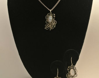 Vintage Banded Agate, Sterling Silver Necklace And Pierced Earring Set