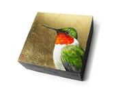 Ruby Throat Hummingbird painting, humming bird on square art block, metallic gold glam - holiday colors - realistic wildlife art