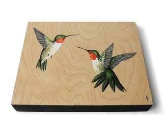 Ruby Throated Hummingbirds painting - humming bird art - natural woodgrain - hummingbird gift - realistic wildlife art - bare wood panel