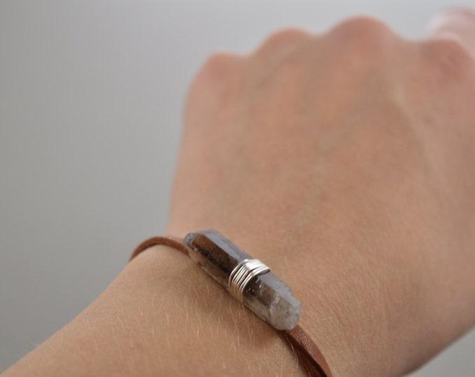 Smokey Quartz Crystal Point Brown Leather Wrap Bracelet