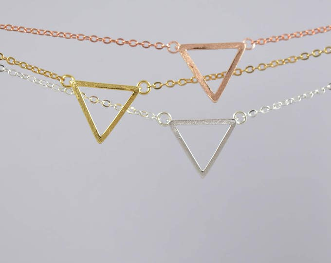 Triangle Minimal Necklace , Dainty Layering Necklace, Delicate Chain Gold Plated, Rose Gold Plated or Silver Plated, Mini Triangle Necklace