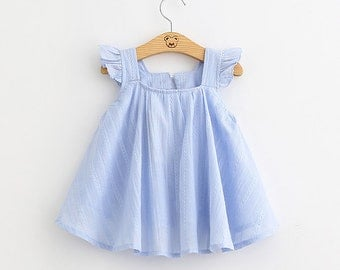 Blue Pink Girl Dress Toddler Baby Cotton Ballerina Frock Infant Cute Flutter Sleeves Elsa Dress Children Kids Clothes Clothing
