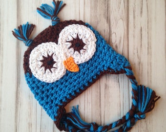 Boys Owl Hat, Size 3 to 6 months, Ready to ship, blue, brown, animal, photo prop, baby shower gift, beanie, earflap, winter, fall, birthday