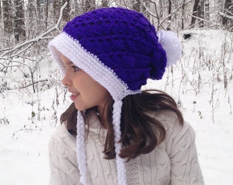Frieda Slouch Hat Fits Toddlers to Teens, Winter Hat, Crochet Hat, Swirl Hat, Slouchy hat, Purple Hat, Bonnet Hat, Santa Hat, Childrens Hat