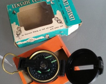 Lensatic Compass, Original Packaging, Vintage Camping Gadget, Compass, Model 300-P, Black Plastic with Brass Closure