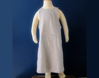 Blue and White Ticking Cross Back Child's Apron