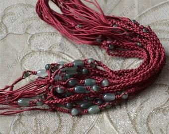 5 strands Natural jadeite Necklace red Rope necklace findings, adjustable necklace findings