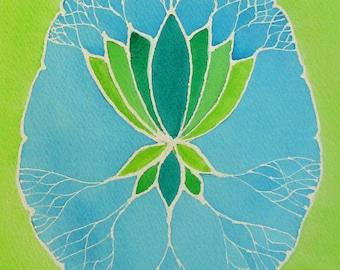 Blue and Green Lotus Brain  -  original watercolor painting