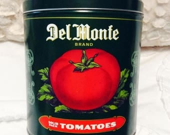MOTHERS DAY SALE Vintage Del Monte Tomatoes Tin Box Canister Americana Advertising Green