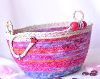 Gorgeous Picnic Basket, Handmade Pink Batik Basket, Key Holder bowl, Modern Mail Holder Bin, Fruit Bowl, Makeup Holder