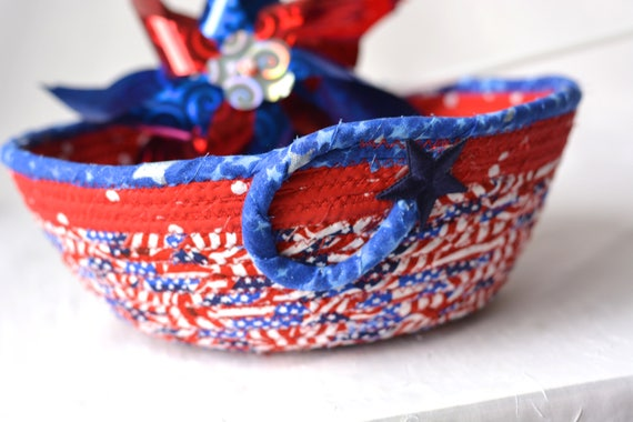 Memorial Day Gift Basket, Handmade Red White and Blue Party Bowl, Picnic Fabric Basket, Patriotic Decoration, Gift for Him Dad