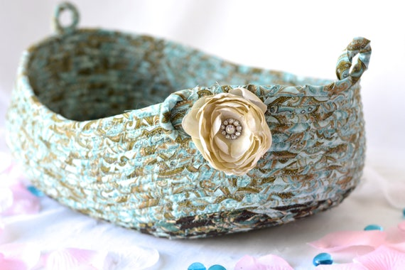 Decorative Bath Basket, Handmade Designer Basket, Mother's Day Gift, Unique Gift Basket, Coiled Fabric Basket, Bathroom Decoration