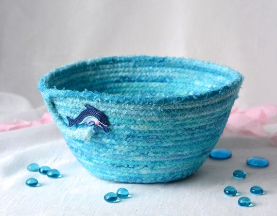 Turquoise Gift Basket, Handmade Candle Holder, Summer Picnic Basket, Hand Coiled Fiber Basket, Dolphin Wave Basket, Yarn Bowl, Eyeglass Tray